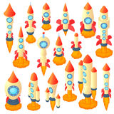 Rocket icons set, cartoon style. Rocket icons set in cartoon style. Spaceship set collection vector illustration Royalty Free Stock Photo