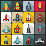 Rocket icons set, flat style. Rocket icons set in flat style for any design Royalty Free Stock Image