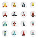 Rocket icons set, flat style. Rocket icons set. Flat illustration of 16 rocket vector icons for web Royalty Free Stock Photos