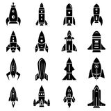 Rocket icons set, simple style Royalty Free Stock Photography