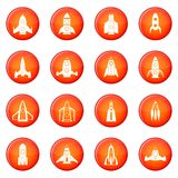 Rocket icons vector set. Of red circles isolated on white background Royalty Free Stock Photo