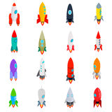 Rocket-Ikonen eingestellt in isometrische Art 3d Stockbilder