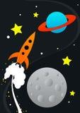 Rocket Illustration. Vector rocket in space drawing royalty free illustration