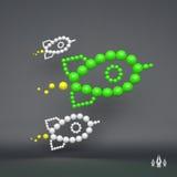 Rocket illustration du concept 3D pour le marketing composition en sphères 3d Photos stock