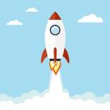 Rocket illustration. Rocket flying in the sky. Vector illustration royalty free illustration