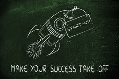 Rocket illustration, let your success take off Stock Image