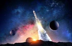 Rocket im Platz Gemischte Medien stockfoto
