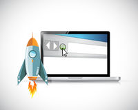 Rocket and internet computer concept Royalty Free Stock Image