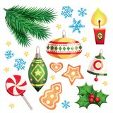 Happy New Year and Merry Christmas Vector Design Set. With decorative elements and objects: tree branches, garlands, toys, spiral lollipop, bell, berry, candle stock illustration