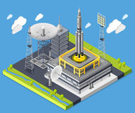 Rocket Isometric Composition royalty free illustration