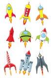Rocket-Karikatur eingestellt auf weißen Hintergrund Stockfoto