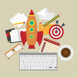 Rocket and kayboard Business startup work space Royalty Free Stock Photography