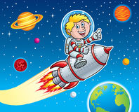 Rocket Kid Blasting Through Space Foto de archivo