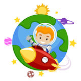 Rocket with a Kid Leaving the Earth. Vector Illustration of a Rocket with a Kid Leaving the Earth Stock Image