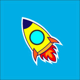 Rocket Kid. Vector rocket kid blasting Through Outer Space Stock Photos
