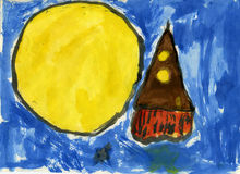 Rocket a la luna Imagen de archivo libre de regalías