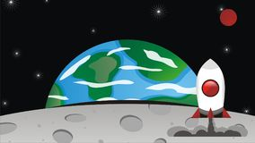 Rocket Landing en la luna Fotografía de archivo libre de regalías