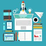 Rocket and Laptop Business startup work space Stock Image