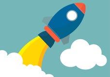 Rocket lauching. Flat modern design royalty free illustration
