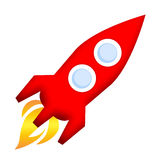 Rocket launch. Red rocket launch illustration isolated over white background Stock Photos