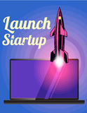 Rocket launch as metaphor startup. Rocket fly at yhe stars space. Vector image. Royalty Free Stock Photos