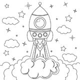 Rocket launch. Black and white vector illustration for coloring book. Vector illustration Stock Photos