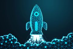 Rocket launch. Business start up concept form lines, with crumbled edge on blue night sky with dots, stars and looks like. royalty free illustration