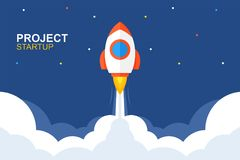 Rocket launch. flat style. Rocket launch. Business startup banner. flat style. isolated on blue background vector illustration