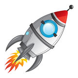 Rocket launch. Cartoon rocket with flame coming from engine royalty free illustration