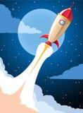 Rocket launch cartoon Royalty Free Stock Photos
