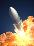 Rocket launch In The Clouds Of Fire. 3D Illustration Royalty Free Stock Photo