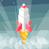 Rocket launch. Cubes composition isometric vector illustration of cruise missile. New product, successful beginning concept. Royalty Free Stock Images