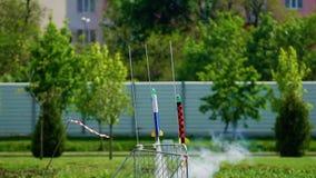 Rocket Launch di modello, Rocket Modeling Movimento lento archivi video