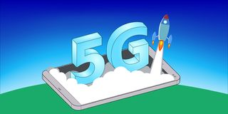 Rocket Launch on 5G Mobile Phone stock photography