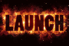Rocket launch fire flame flames burn explode text. Explosion Stock Image