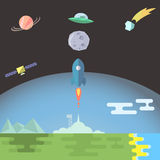 Rocket launch flat style vector illustration. Rocket launch to the Moon flat style vector illustration Stock Images