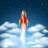 Rocket launch and flying in the starry sky.Vector illustration Stock Photo