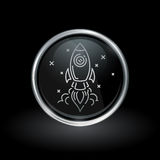 Rocket launch icon inside round silver and black emblem Royalty Free Stock Photo