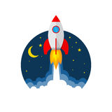 Rocket launch icon. Vector illustration. Start up of the space rocket. Rocket ship in flat design. Vector illustration. Concept of business launch Royalty Free Stock Photos