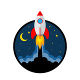 Rocket launch icon. Vector illustration. Start up of the space rocket. Rocket ship in flat design. Vector illustration. Concept of business launch Stock Photos