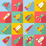 Rocket launch icons set, flat style. Rocket launch icons set. Flat illustration of 16 rocket launch vector icons for web Stock Image