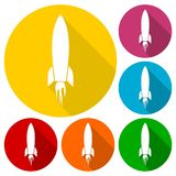 Rocket launch icons set with long shadow. Vector icon Stock Photo