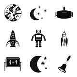 Rocket launch icons set, simple style Stock Photo