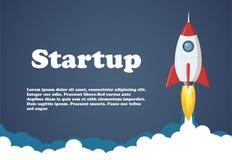 Rocket Launch Illustration Bedrijfs of projectopstarten bannerconcept Vlakke stijl vectorillustratie Royalty-vrije Stock Afbeelding