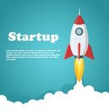 Rocket Launch Illustration Conceito startup da bandeira do negócio ou do projeto Ilustração lisa do vetor do estilo Fotos de Stock Royalty Free