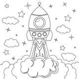 Rocket Launch Illustrazione in bianco e nero di vettore per il libro da colorare Fotografie Stock