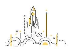 Rocket Launch Kreativ beginnen Sie oben lizenzfreie abbildung