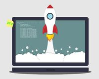 Rocket launch from the laptop. Concept of business start-up Royalty Free Stock Photos