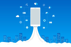 Rocket launch with mobile icons. Wi-fi, 3G, 4G. Phone launch like a space rocket with mobile icons. Abstract blue cityscape on background. Wi-fi, 3G, 4G Royalty Free Stock Photography