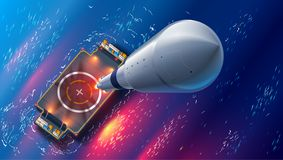 Rocket Launch On Autonomous Spaceport Drone Ship In Sea. Top View. Spaceship Takes Off Into Space. Marine Floating Cosmodrome. Royalty Free Stock Image